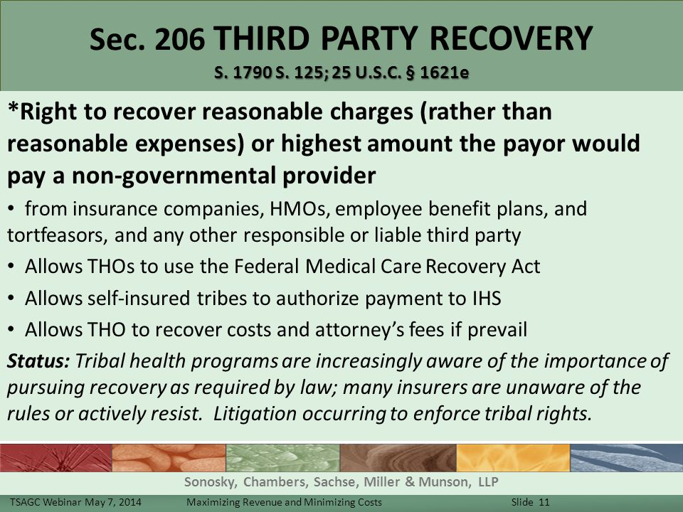 S. 1790 S. 125; 25 U.S.C. § 1621e Sec. 206 THIRD PARTY RECOVERY S.