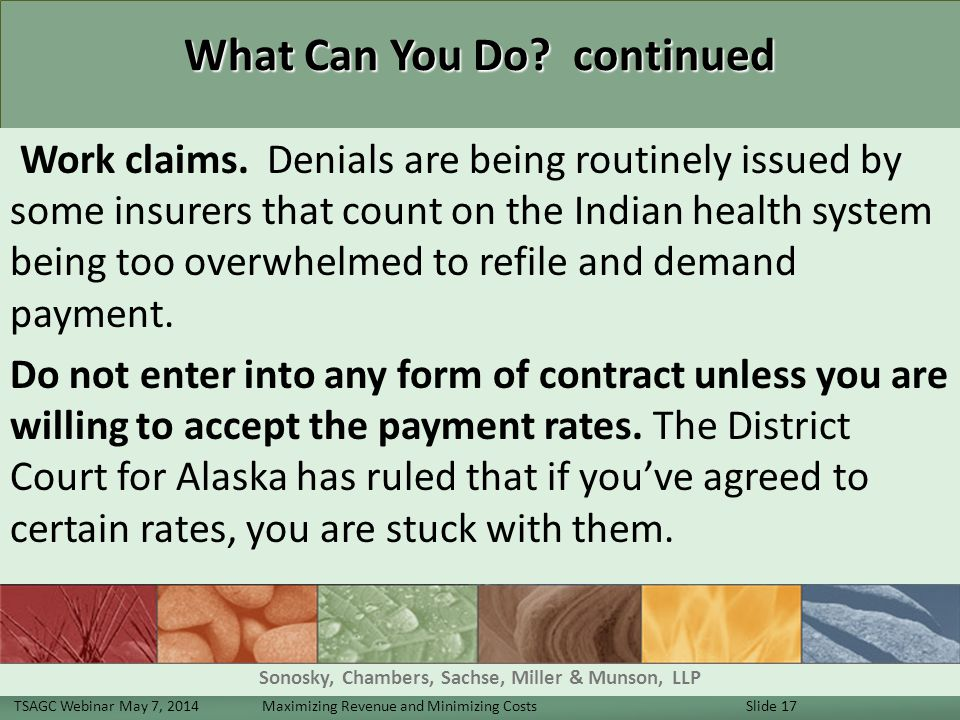 What Can You Do. continued Work claims.