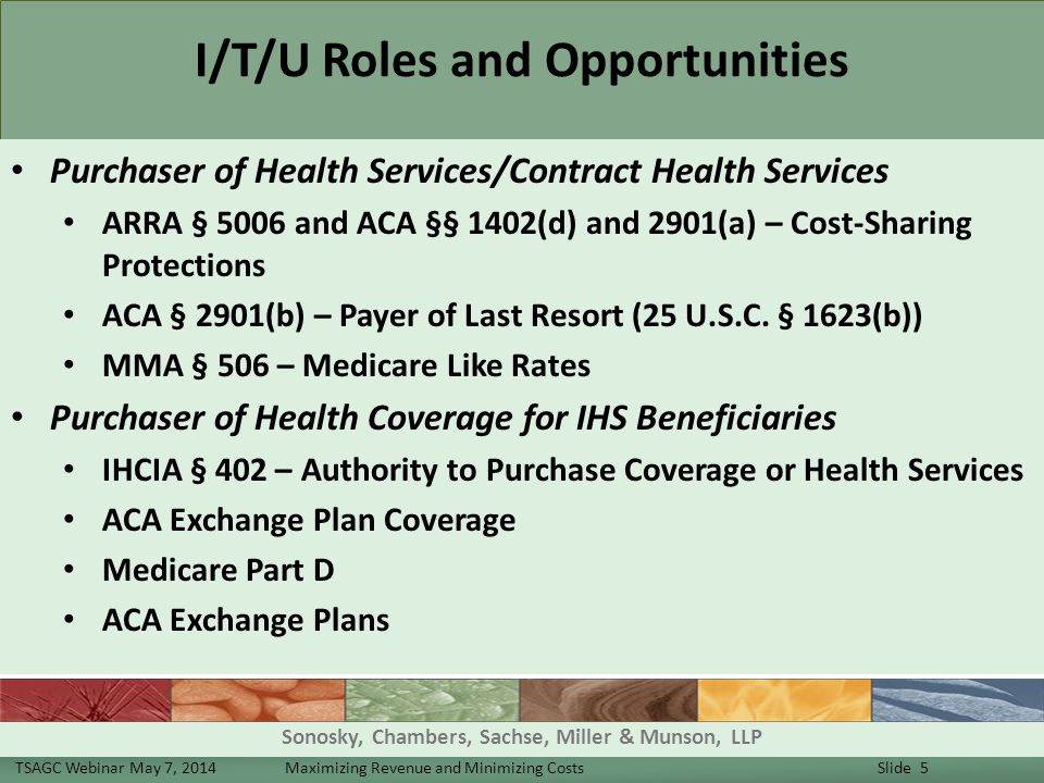 I/T/U Roles and Opportunities Purchaser of Health Services/Contract Health Services ARRA § 5006 and ACA §§ 1402(d) and 2901(a) – Cost-Sharing Protections ACA § 2901(b) – Payer of Last Resort (25 U.S.C.