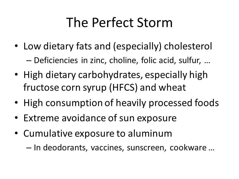 Summary A diet high in carbohydrates and low in saturated fat, cholesterol, and lactate has devastating consequences – In addition, many important nutrients like folate, fat-soluble vitamins, and minerals like zinc and iron are deficient There is a remarkable association between sulfur availability in soil and protection from cardiovascular disease and obesity, and the reverse holds as well I propose that: – Sulfate synthesis in the skin, mediated by sunlight, holds the key to many health problems – Cholesterol-sulfate transport supplies cholesterol, sulfur, oxygen, negative charge, and energy to all the tissues – Atherosclerotic plaque is a factory for cholesterol sulfate production