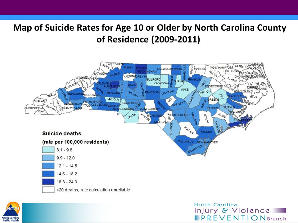 Map of Suicide Rates for Age 10 or Older by North Carolina County of Residence (2009-2011)
