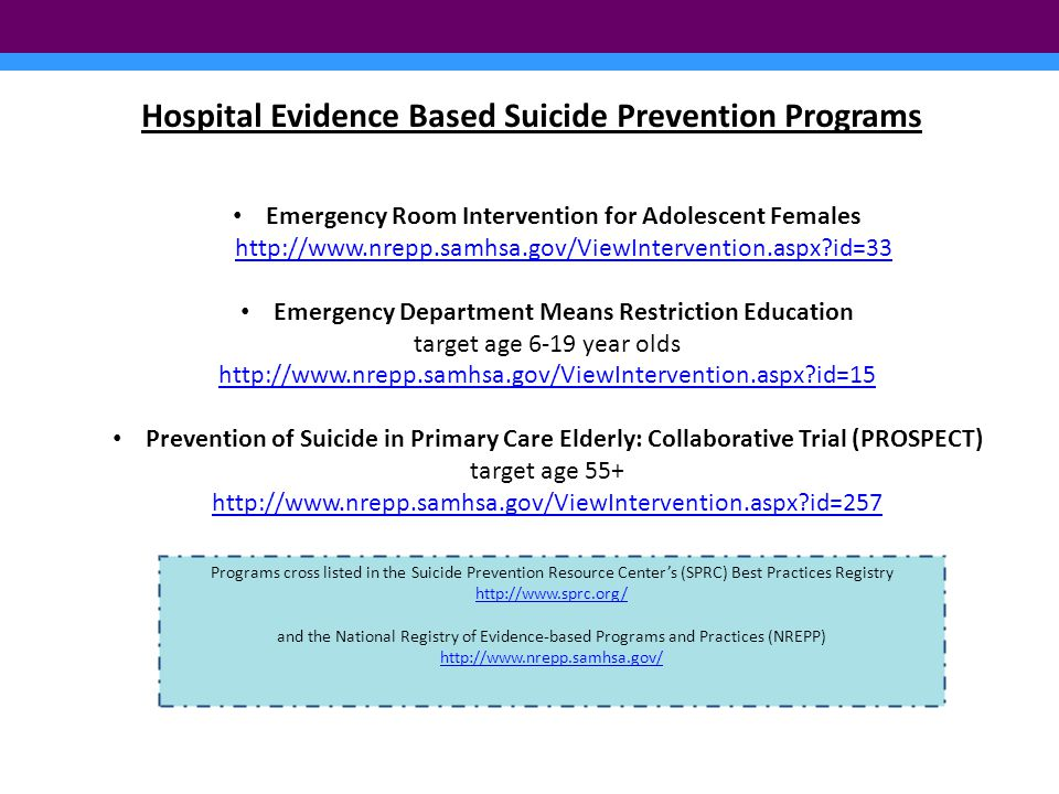 Hospital Evidence Based Suicide Prevention Programs Emergency Room Intervention for Adolescent Females http://www.nrepp.samhsa.gov/ViewIntervention.aspx?id=33 http://www.nrepp.samhsa.gov/ViewIntervention.aspx?id=33 Emergency Department Means Restriction Education target age 6-19 year olds http://www.nrepp.samhsa.gov/ViewIntervention.aspx?id=15 Prevention of Suicide in Primary Care Elderly: Collaborative Trial (PROSPECT) target age 55+ http://www.nrepp.samhsa.gov/ViewIntervention.aspx?id=257 Programs cross listed in the Suicide Prevention Resource Center's (SPRC) Best Practices Registry http://www.sprc.org/ http://www.sprc.org/ and the National Registry of Evidence-based Programs and Practices (NREPP) http://www.nrepp.samhsa.gov/ http://www.nrepp.samhsa.gov/