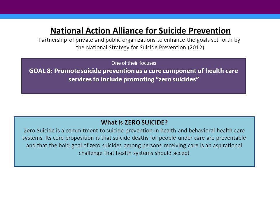 National Action Alliance for Suicide Prevention Partnership of private and public organizations to enhance the goals set forth by the National Strategy for Suicide Prevention (2012) One of their focuses GOAL 8: Promote suicide prevention as a core component of health care services to include promoting zero suicides What is ZERO SUICIDE.