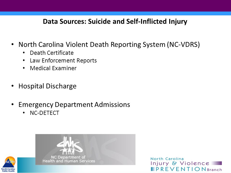 Data Sources: Suicide and Self-Inflicted Injury North Carolina Violent Death Reporting System (NC-VDRS) Death Certificate Law Enforcement Reports Medical Examiner Hospital Discharge Emergency Department Admissions NC-DETECT