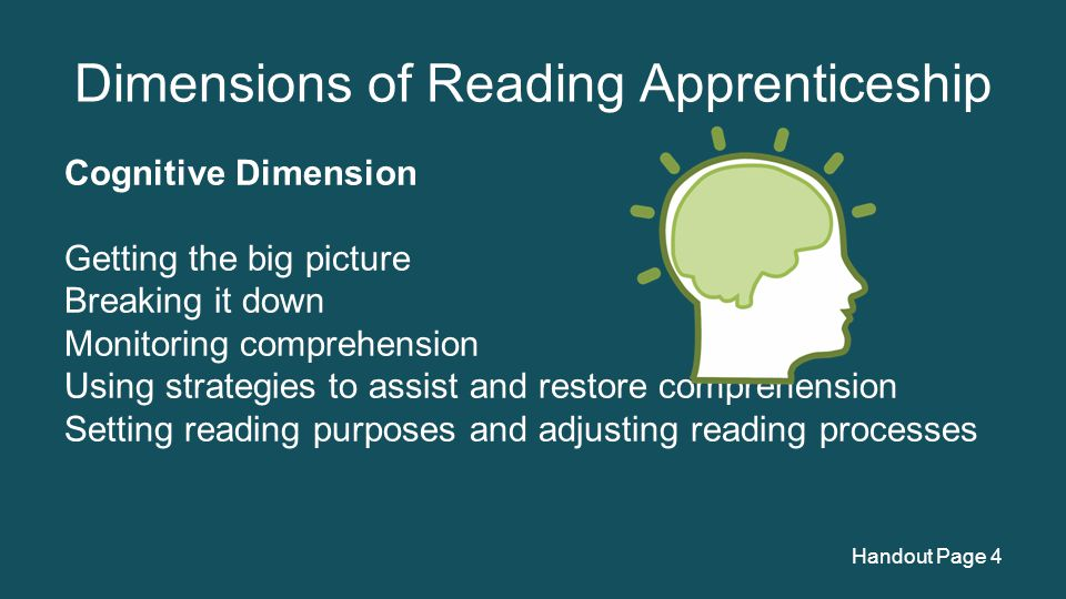 Dimensions of Reading Apprenticeship Cognitive Dimension Getting the big picture Breaking it down Monitoring comprehension Using strategies to assist and restore comprehension Setting reading purposes and adjusting reading processes Handout Page 4