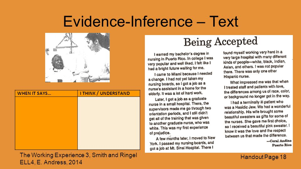 Evidence-Inference – Text WHEN IT SAYS…I THINK / UNDERSTAND The Working Experience 3, Smith and Ringel ELL4, E.