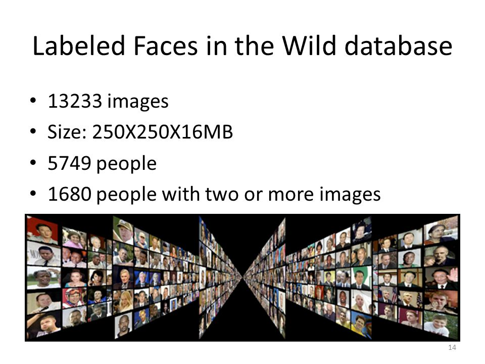 Labeled Faces in the Wild database 13233 images Size: 250X250X16MB 5749 people 1680 people with two or more images 14