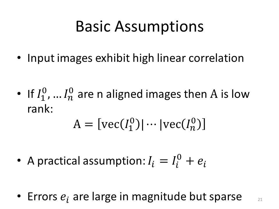 Basic Assumptions 21