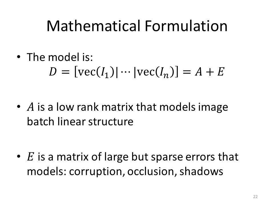 Mathematical Formulation 22