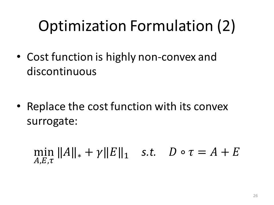 Optimization Formulation (2) 26