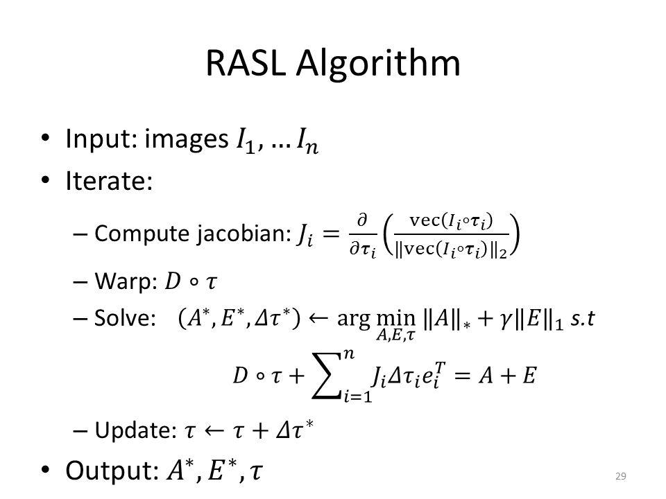 RASL Algorithm 29