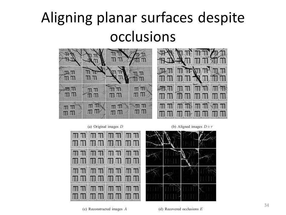 Aligning planar surfaces despite occlusions 34