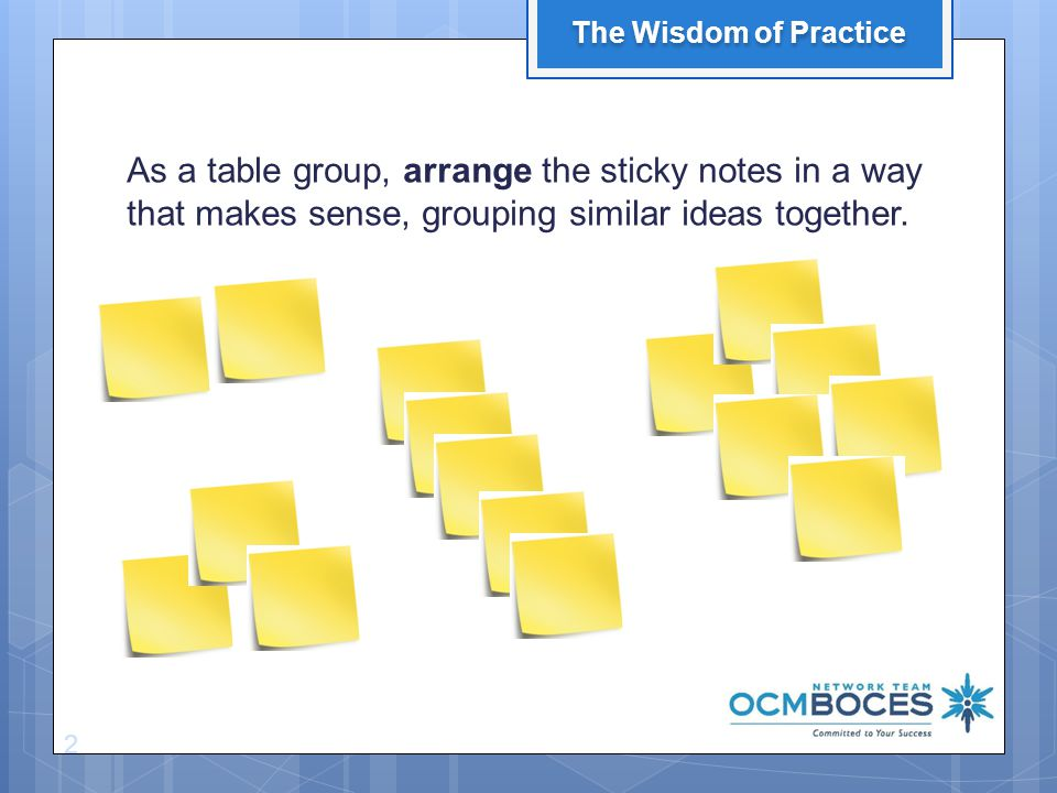 As a table group, arrange the sticky notes in a way that makes sense, grouping similar ideas together.