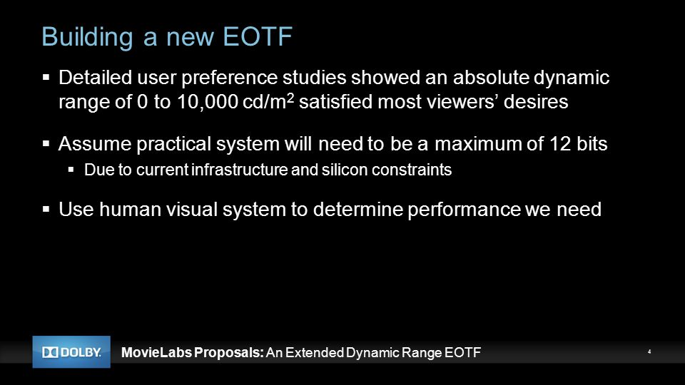 MovieLabs Proposals: An Extended Dynamic Range EOTF Building a new EOTF  Detailed user preference studies showed an absolute dynamic range of 0 to 10