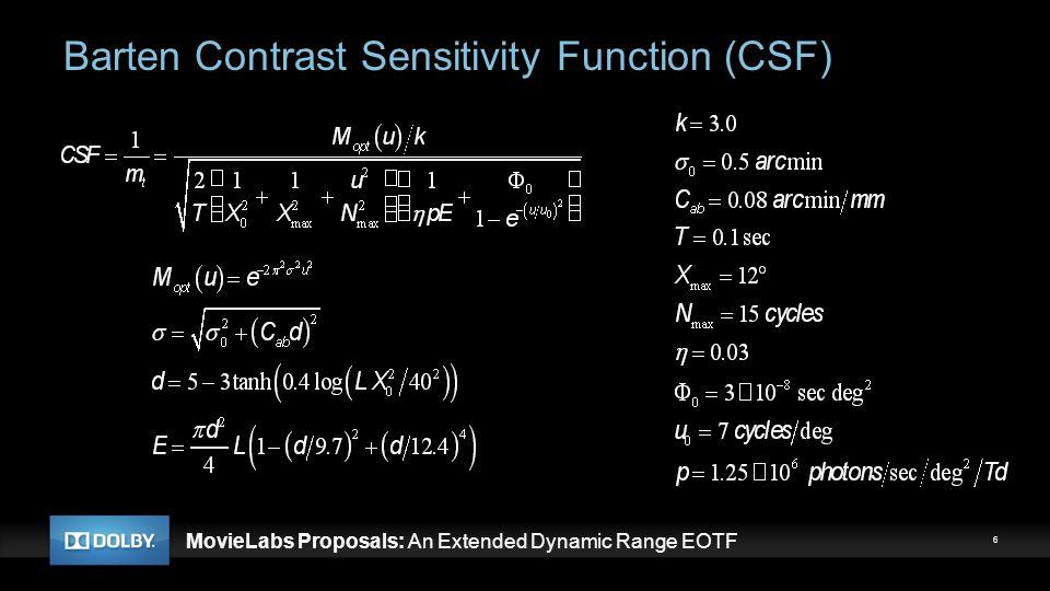 MovieLabs Proposals: An Extended Dynamic Range EOTF Perceptual Quantizer (PQ) EOTF 7
