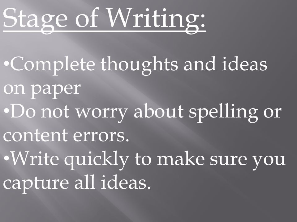 Stage of Writing: Complete thoughts and ideas on paper Do not worry about spelling or content errors.