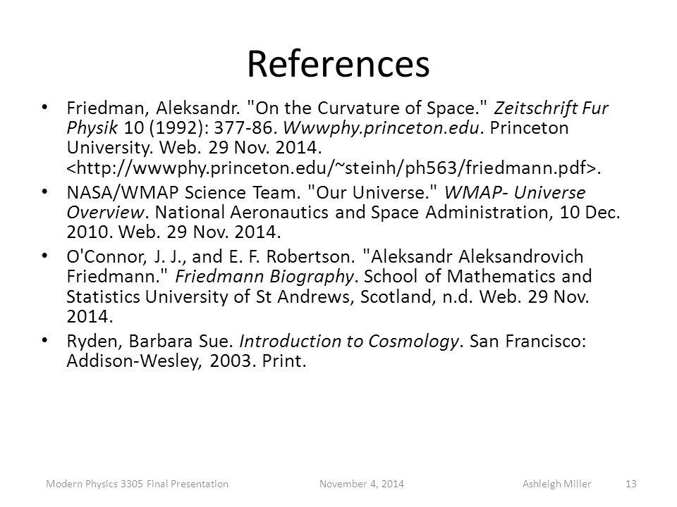 References Friedman, Aleksandr.