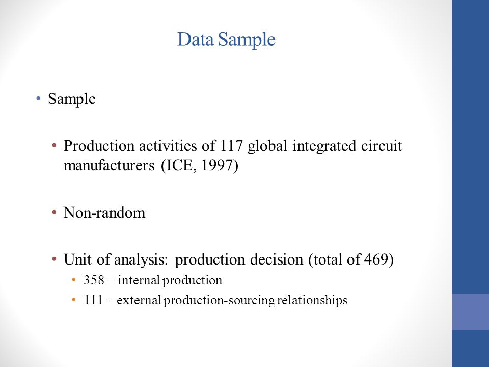 Data Sample Sample Production activities of 117 global integrated circuit manufacturers (ICE, 1997) Non-random Unit of analysis: production decision (total of 469) 358 – internal production 111 – external production-sourcing relationships