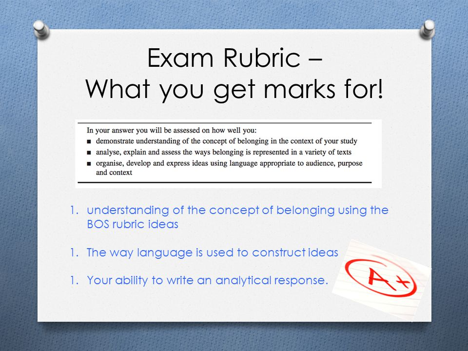 Exam Rubric – What you get marks for.