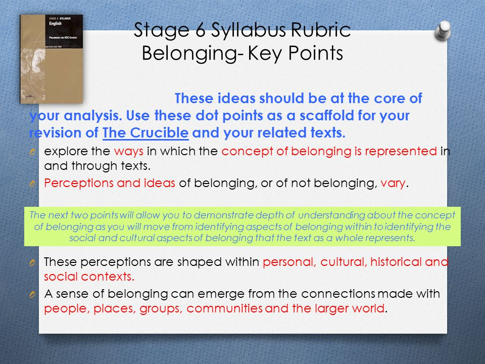 Stage 6 Syllabus Rubric Belonging- Key Points These ideas should be at the core of your analysis.
