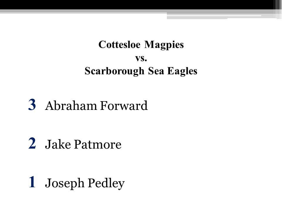 Cottesloe Magpies vs. Scarborough Sea Eagles 3 Abraham Forward 2 Jake Patmore 1 Joseph Pedley