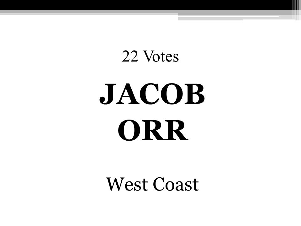 22 Votes JACOB ORR West Coast
