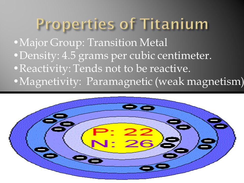 Major Group: Transition Metal Density: 4.5 grams per cubic centimeter.