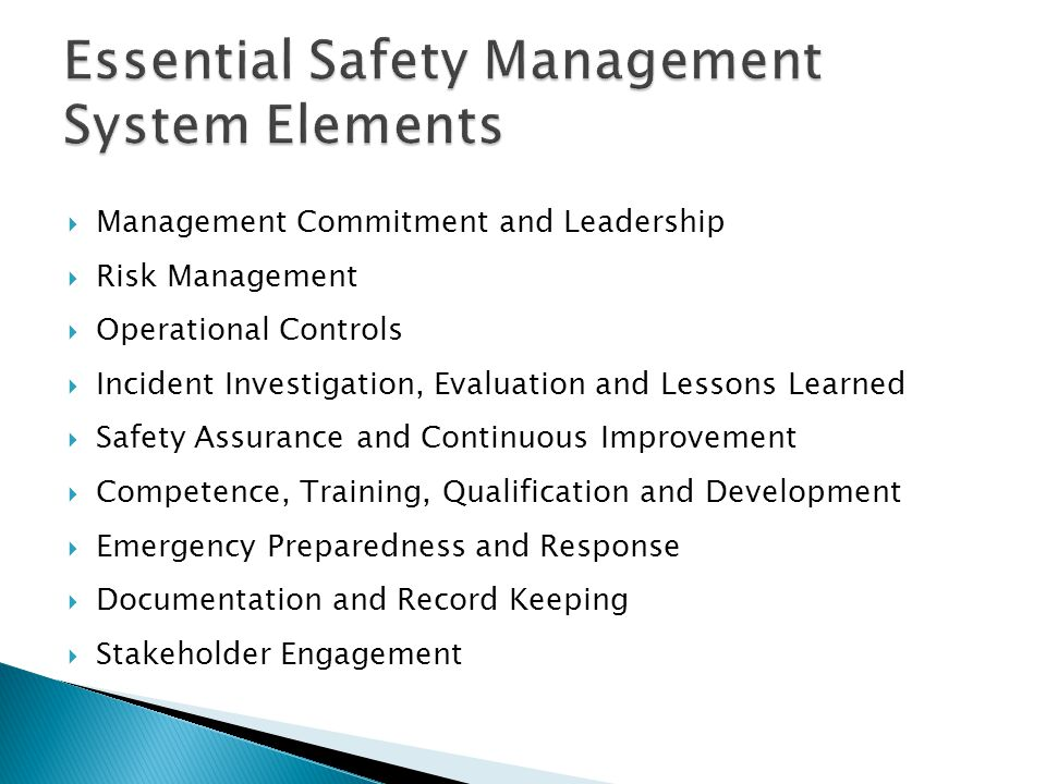  Management Commitment and Leadership  Risk Management  Operational Controls  Incident Investigation, Evaluation and Lessons Learned  Safety Assurance and Continuous Improvement  Competence, Training, Qualification and Development  Emergency Preparedness and Response  Documentation and Record Keeping  Stakeholder Engagement
