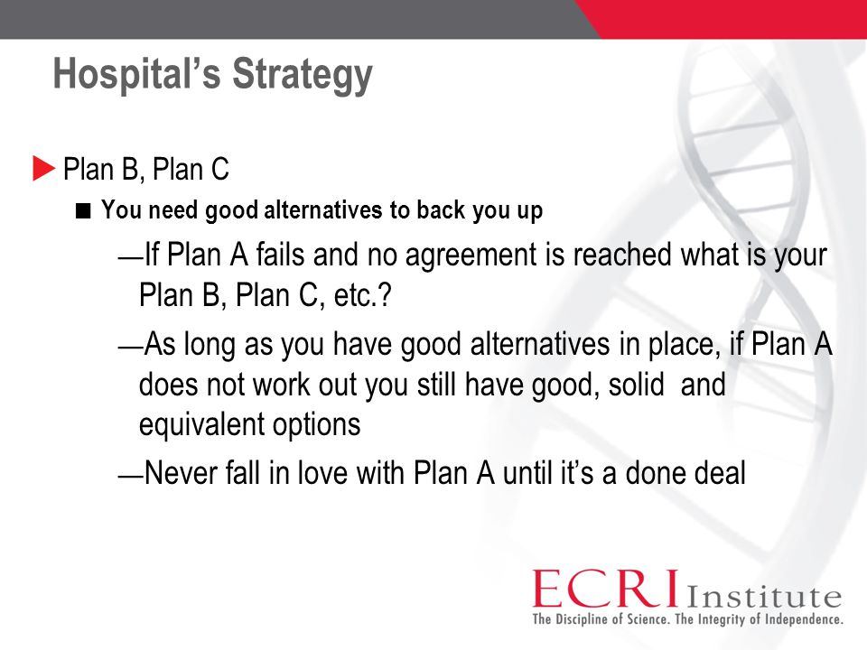 Hospital's Strategy  Plan B, Plan C You need good alternatives to back you up ― If Plan A fails and no agreement is reached what is your Plan B, Plan C, etc..