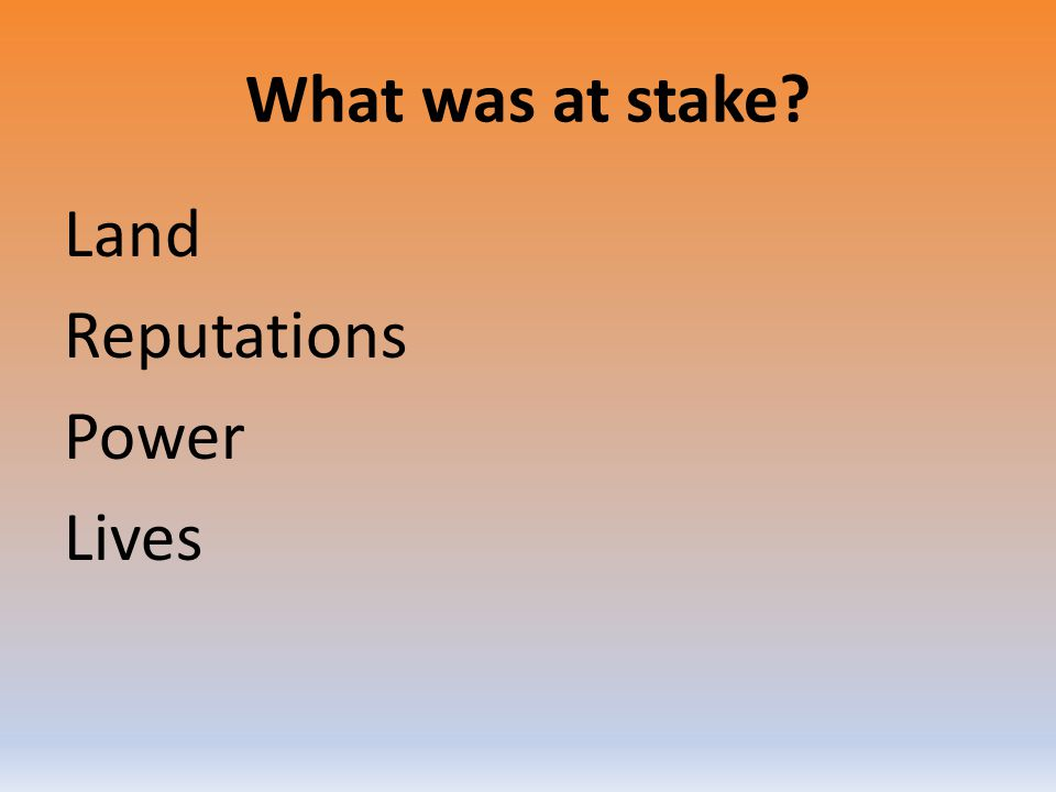What was at stake? Land Reputations Power Lives