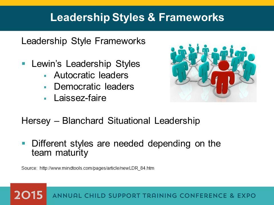 Leadership Styles & Frameworks Leadership Style Frameworks  Lewin's Leadership Styles  Autocratic leaders  Democratic leaders  Laissez-faire Herse
