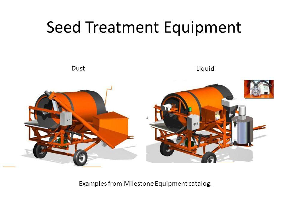Seed Treatment Equipment Examples from Milestone Equipment catalog. Dust Liquid