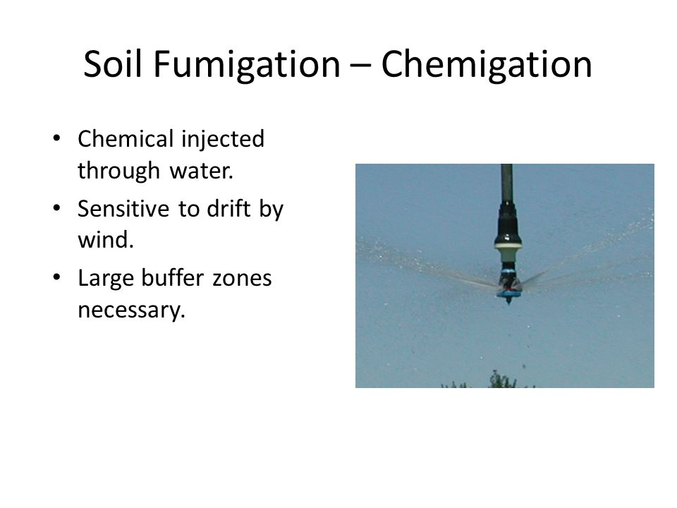 Soil Fumigation – Chemigation Chemical injected through water.