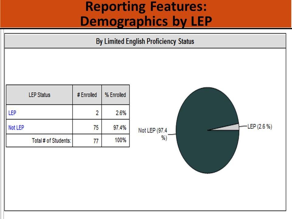 Reporting Features: Demographics by LEP