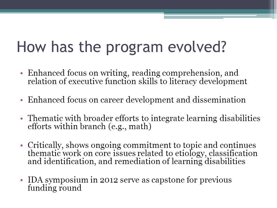 How has the program evolved.
