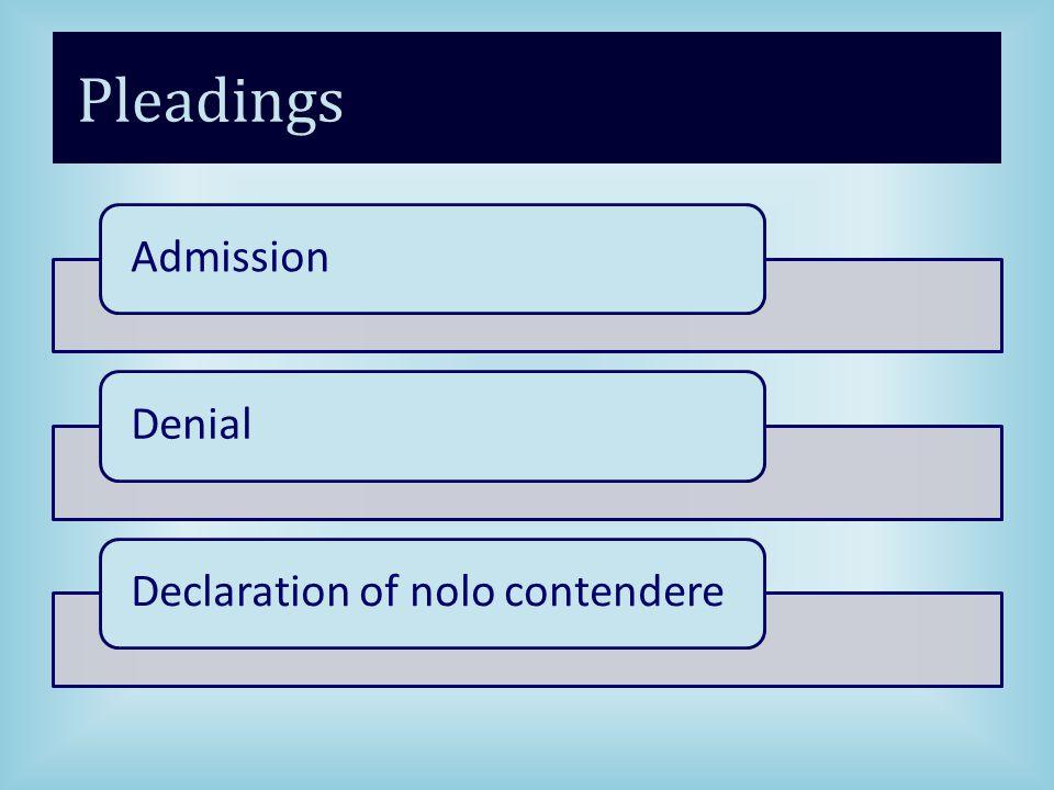 Pleadings AdmissionDenialDeclaration of nolo contendere
