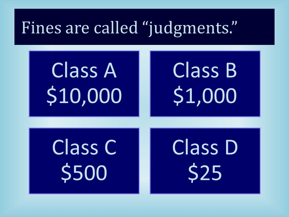 Fines are called judgments. Class A $10,000 Class B $1,000 Class C $500 Class D $25