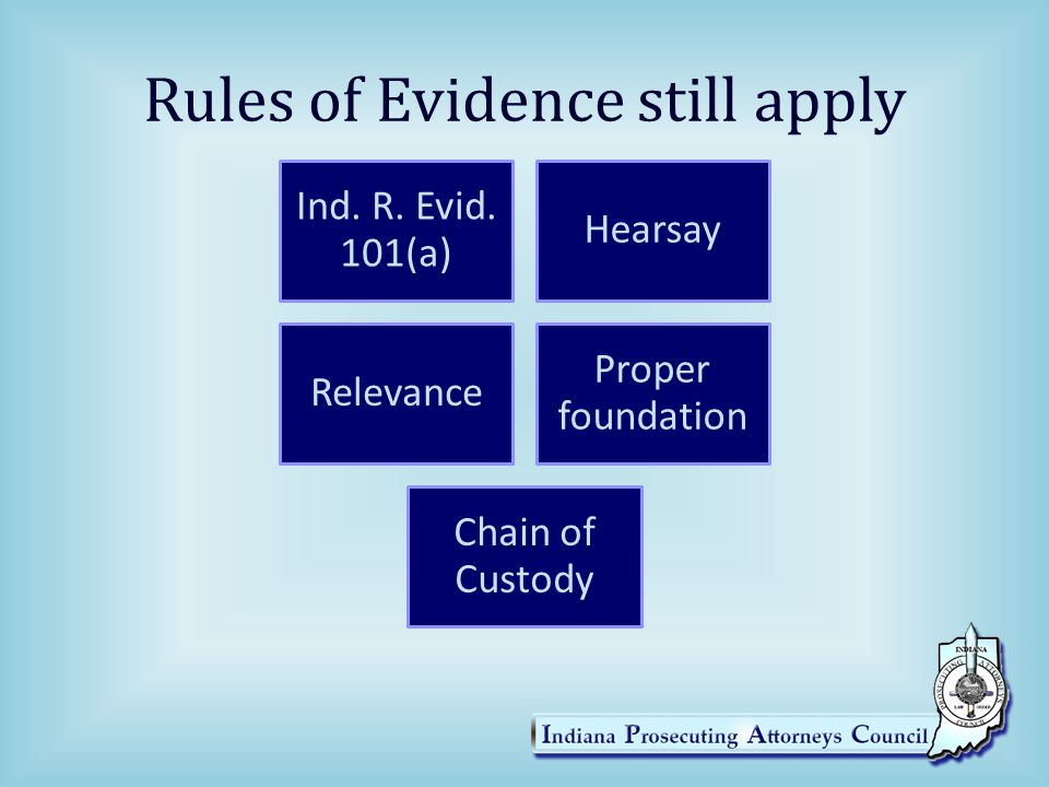Rules of Evidence still apply Ind. R. Evid. 101(a) Hearsay Relevance Proper foundation Chain of Custody