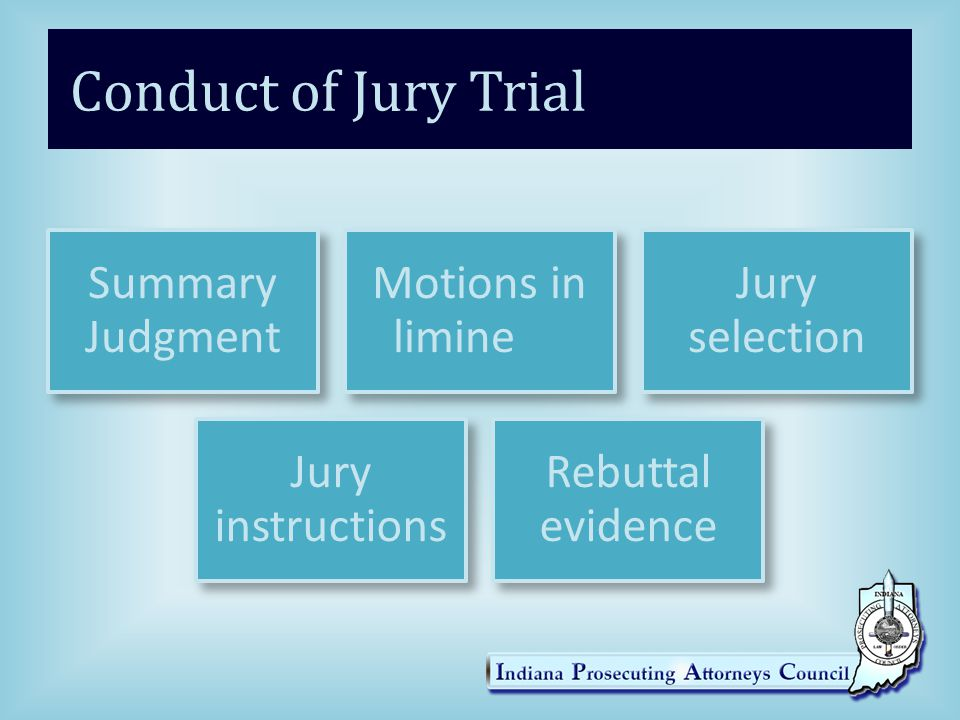 Conduct of Jury Trial Summary Judgment Motions in limine Jury selection Jury instructions Rebuttal evidence