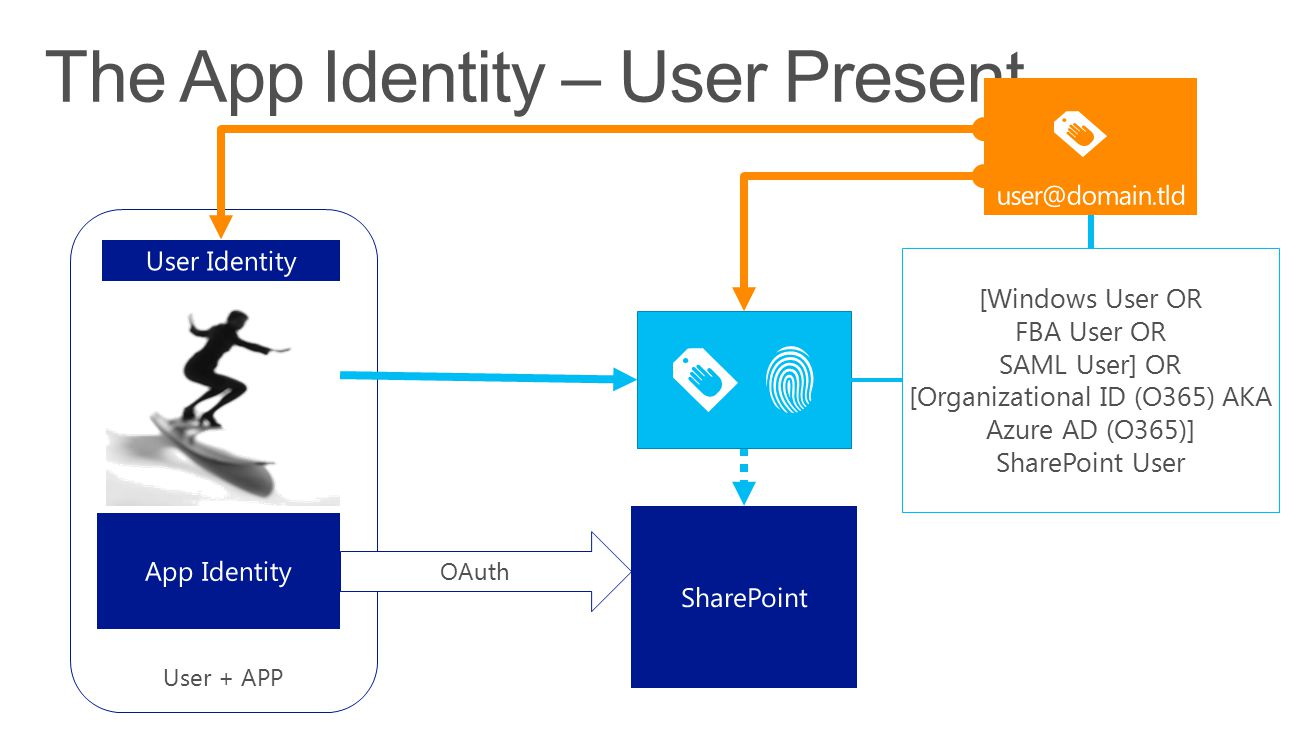 User + APP OAuth [Windows User OR FBA User OR SAML User] OR [Organizational ID (O365) AKA Azure AD (O365)] SharePoint User