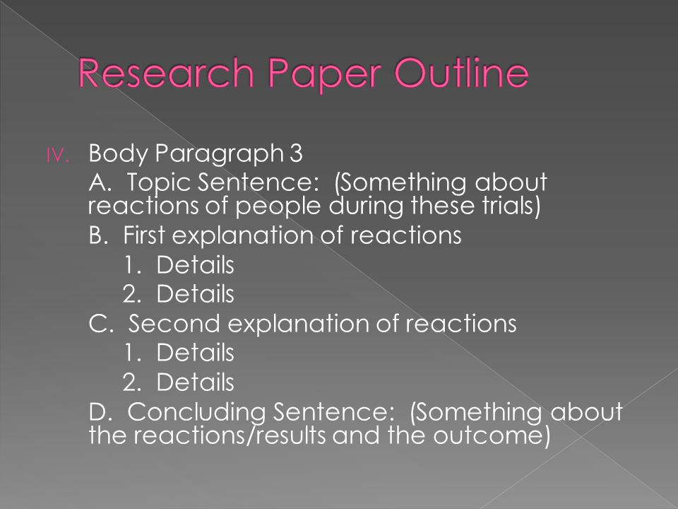 IV. Body Paragraph 3 A. Topic Sentence: (Something about reactions of people during these trials) B. First explanation of reactions 1. Details 2. Deta