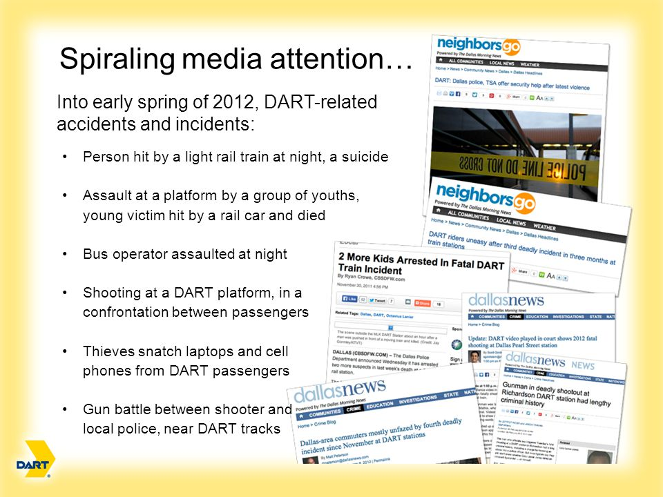 Needed Immediately: A plan and response Assess Almost all DART passenger trips accomplished safely and on time.
