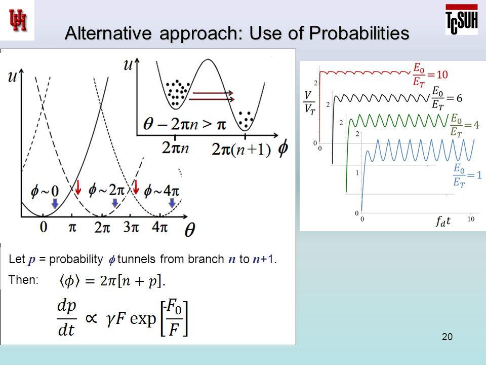 20 Alternative approach: Use of Probabilities Let p = probability  tunnels from branch n to n +1.