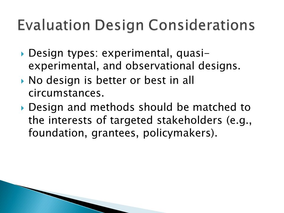  Design types: experimental, quasi- experimental, and observational designs.