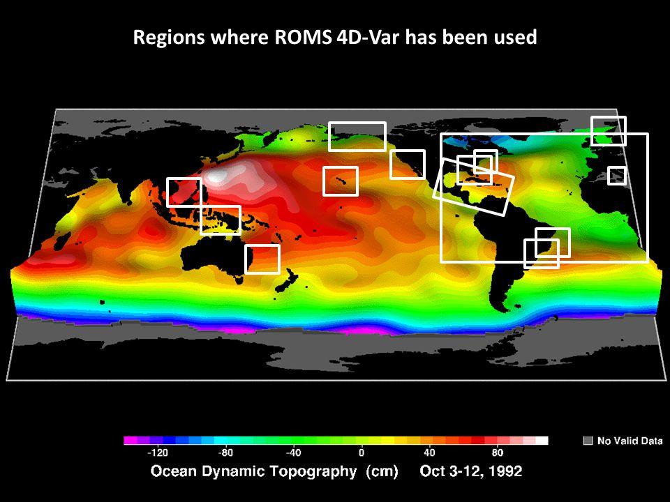 Regions where ROMS 4D-Var has been used