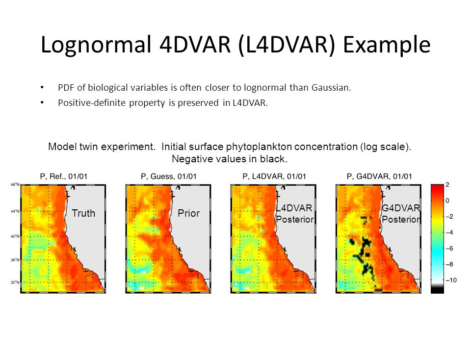 Lognormal 4DVAR (L4DVAR) Example PDF of biological variables is often closer to lognormal than Gaussian. Positive-definite property is preserved in L4