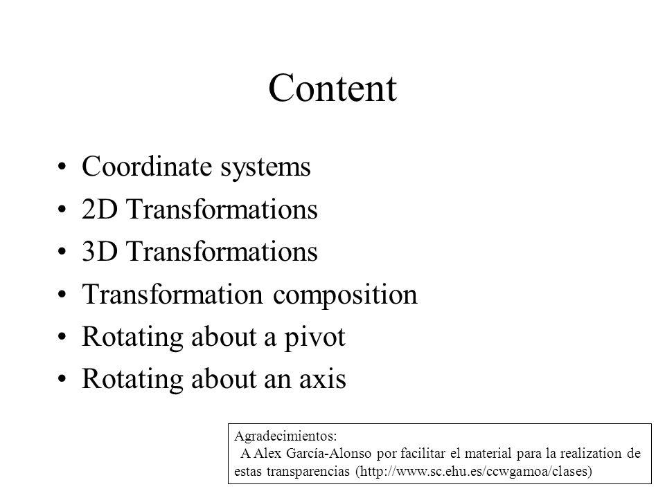 Content Coordinate systems 2D Transformations 3D Transformations Transformation composition Rotating about a pivot Rotating about an axis Agradecimientos: A Alex García-Alonso por facilitar el material para la realization de estas transparencias (http://www.sc.ehu.es/ccwgamoa/clases)
