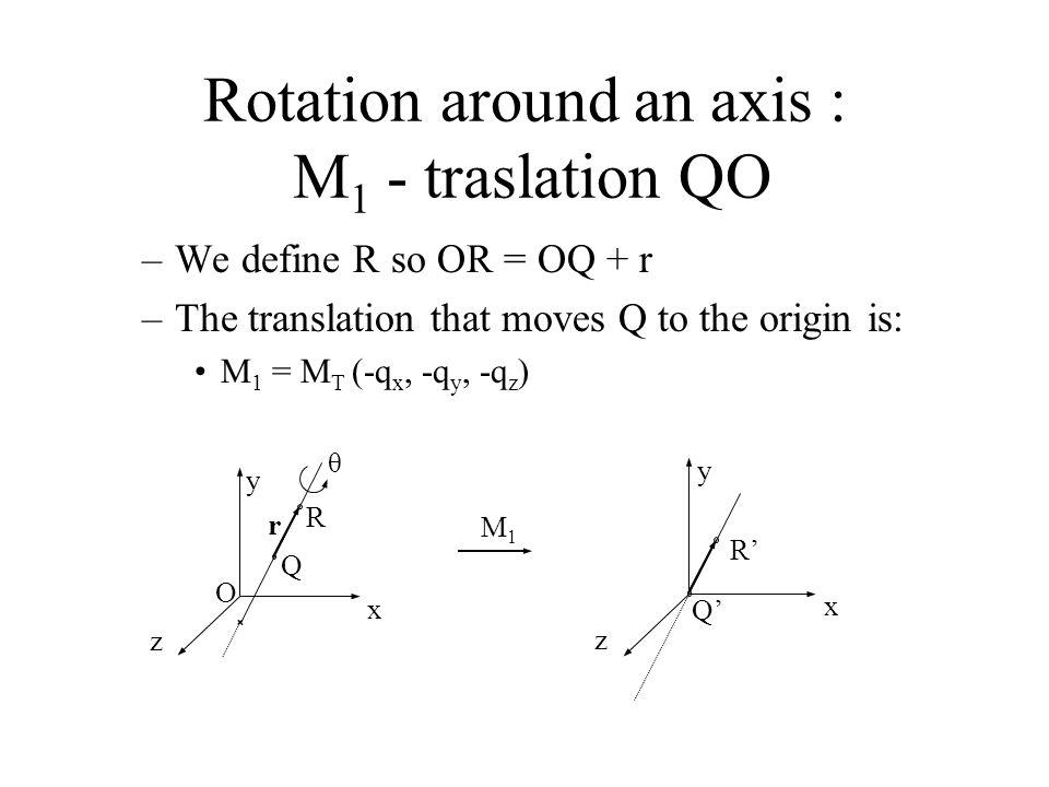 x y z θ Q R O r x y z Q' R' Rotation around an axis : M 1 - traslation QO –We define R so OR = OQ + r –The translation that moves Q to the origin is: M 1 = M T (-q x, -q y, -q z ) M1M1