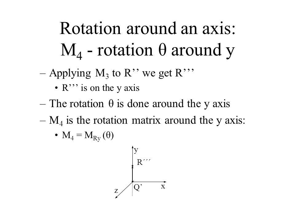 Rotation around an axis: M 4 - rotation θ around y –Applying M 3 to R'' we get R''' R''' is on the y axis –The rotation θ is done around the y axis –M 4 is the rotation matrix around the y axis: M 4 = M Ry (θ) x y z Q' R´´´