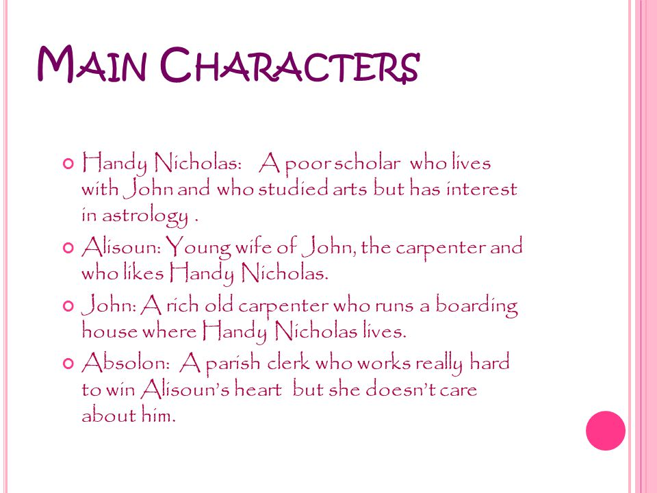 M AIN C HARACTERS Handy Nicholas: A poor scholar who lives with John and who studied arts but has interest in astrology.